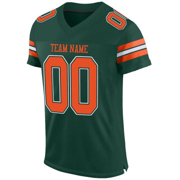 Custom Green Orange-White Mesh Authentic Football Jersey