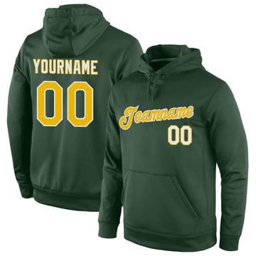 Custom Stitched Green Gold-White Sports Pullover Sweatshirt Hoodie