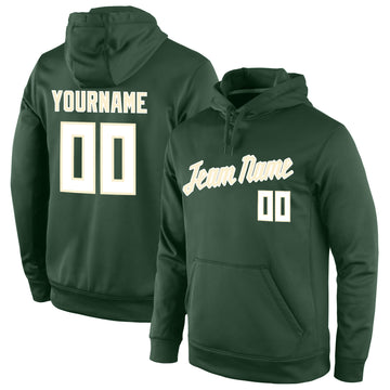 Custom Stitched Green White-Cream Sports Pullover Sweatshirt Hoodie