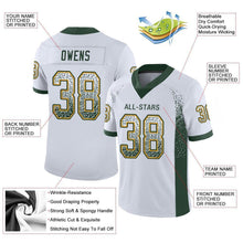 Load image into Gallery viewer, Custom White Green-Gold Mesh Drift Fashion Football Jersey
