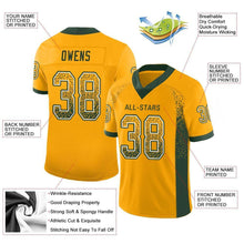 Load image into Gallery viewer, Custom Gold Green-White Mesh Drift Fashion Football Jersey