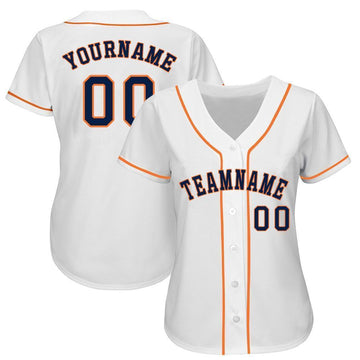 Custom White Navy-Orange Baseball Jersey