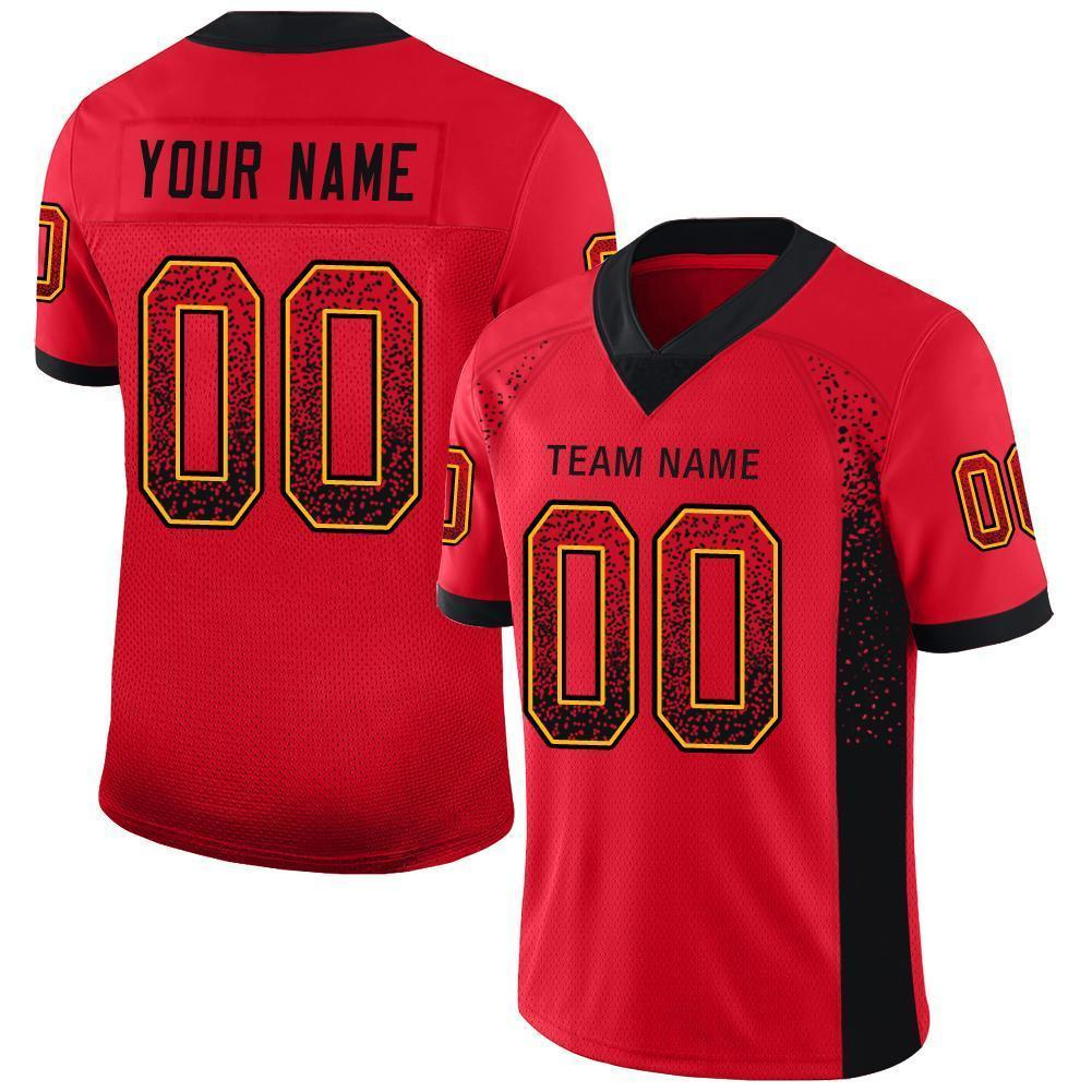 Custom Scarlet Black-Gold Mesh Drift Fashion Football Jersey