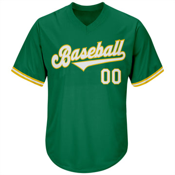 Custom Kelly Green White-Gold Authentic Throwback Rib-Knit Baseball Jersey Shirt