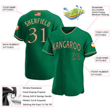 Load image into Gallery viewer, Custom Kelly Green Old Gold-Black Authentic American Flag Fashion Baseball Jersey