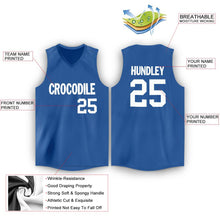 Load image into Gallery viewer, Custom Blue White V-Neck Basketball Jersey