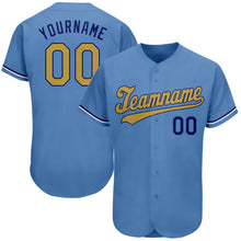 Load image into Gallery viewer, Custom Light Blue Old Gold-Royal Authentic Baseball Jersey