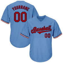 Load image into Gallery viewer, Custom Light Blue Red-Navy Authentic Throwback Rib-Knit Baseball Jersey Shirt