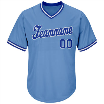 Custom Light Blue Royal-White Authentic Throwback Rib-Knit Baseball Jersey Shirt