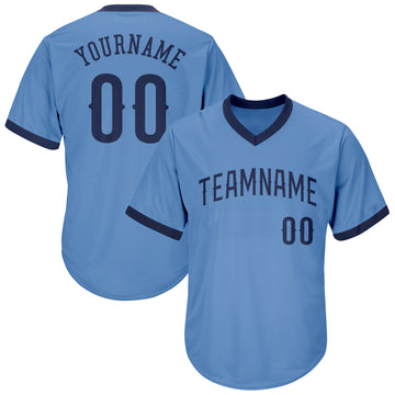 Custom Light Blue Navy Authentic Throwback Rib-Knit Baseball Jersey Shirt