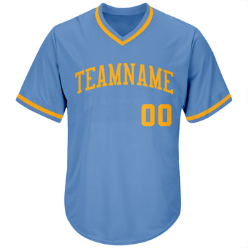 Custom Light Blue Gold Authentic Throwback Rib-Knit Baseball Jersey Shirt