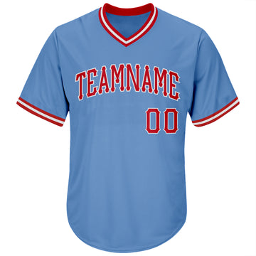 Custom Light Blue Red-White Authentic Throwback Rib-Knit Baseball Jersey Shirt