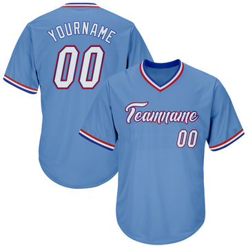 Custom Light Blue White-Royal Authentic Throwback Rib-Knit Baseball Jersey Shirt
