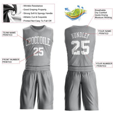 Load image into Gallery viewer, Custom Silver Gray White Round Neck Suit Basketball Jersey