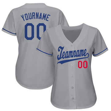 Custom Gray Royal-Red Baseball Jersey