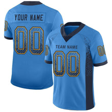 Load image into Gallery viewer, Custom Powder Blue Navy-Gold Mesh Drift Fashion Football Jersey