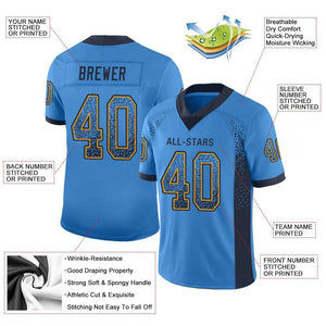 Custom Powder Blue Navy-Gold Mesh Drift Fashion Football Jersey
