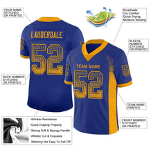 Load image into Gallery viewer, Custom Royal Gold-Navy Mesh Drift Fashion Football Jersey