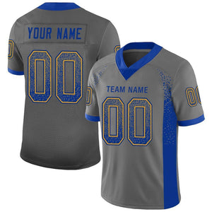 Custom Gray Royal-Gold Mesh Drift Fashion Football Jersey