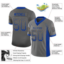 Load image into Gallery viewer, Custom Gray Royal-Gold Mesh Drift Fashion Football Jersey