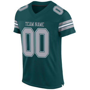 Custom Midnight Green Light Gray-White Mesh Authentic Football Jersey