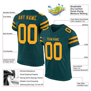 Custom Midnight Green Gold-Black Mesh Authentic Football Jersey