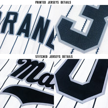 Load image into Gallery viewer, Custom White Royal Strip Navy-Gold Baseball Jersey