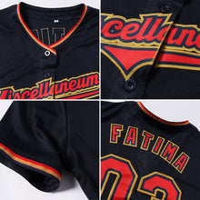 Load image into Gallery viewer, Custom Navy Red-Old Gold Baseball Jersey