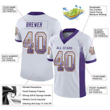 Load image into Gallery viewer, Custom White Purple-Gold Mesh Drift Fashion Football Jersey