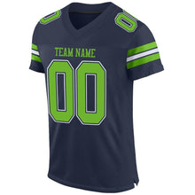 Load image into Gallery viewer, Custom Navy Neon Green-White Mesh Authentic Football Jersey