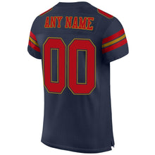 Load image into Gallery viewer, Custom Navy Red-Old Gold Mesh Authentic Football Jersey