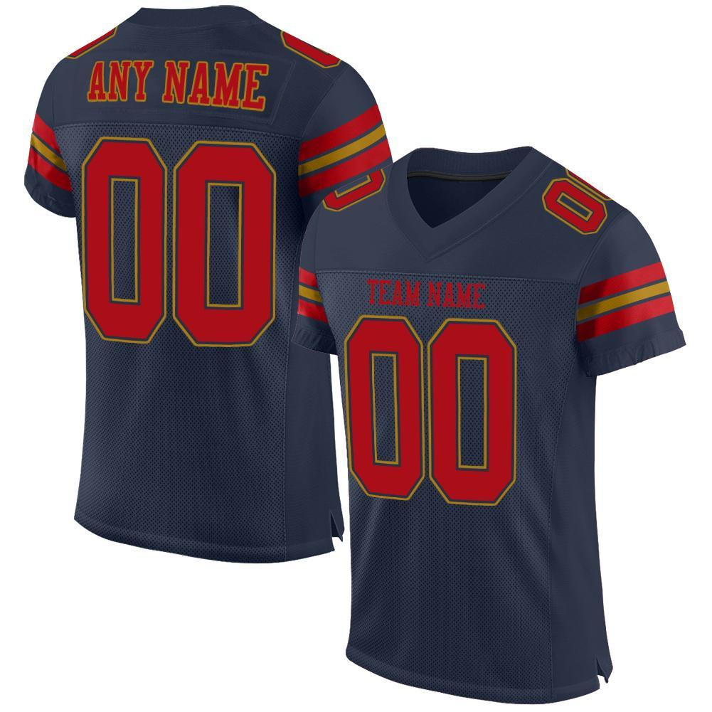 Custom Navy Red-Old Gold Mesh Authentic Football Jersey