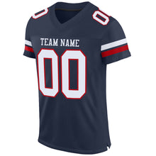 Load image into Gallery viewer, Custom Navy White-Red Mesh Authentic Football Jersey