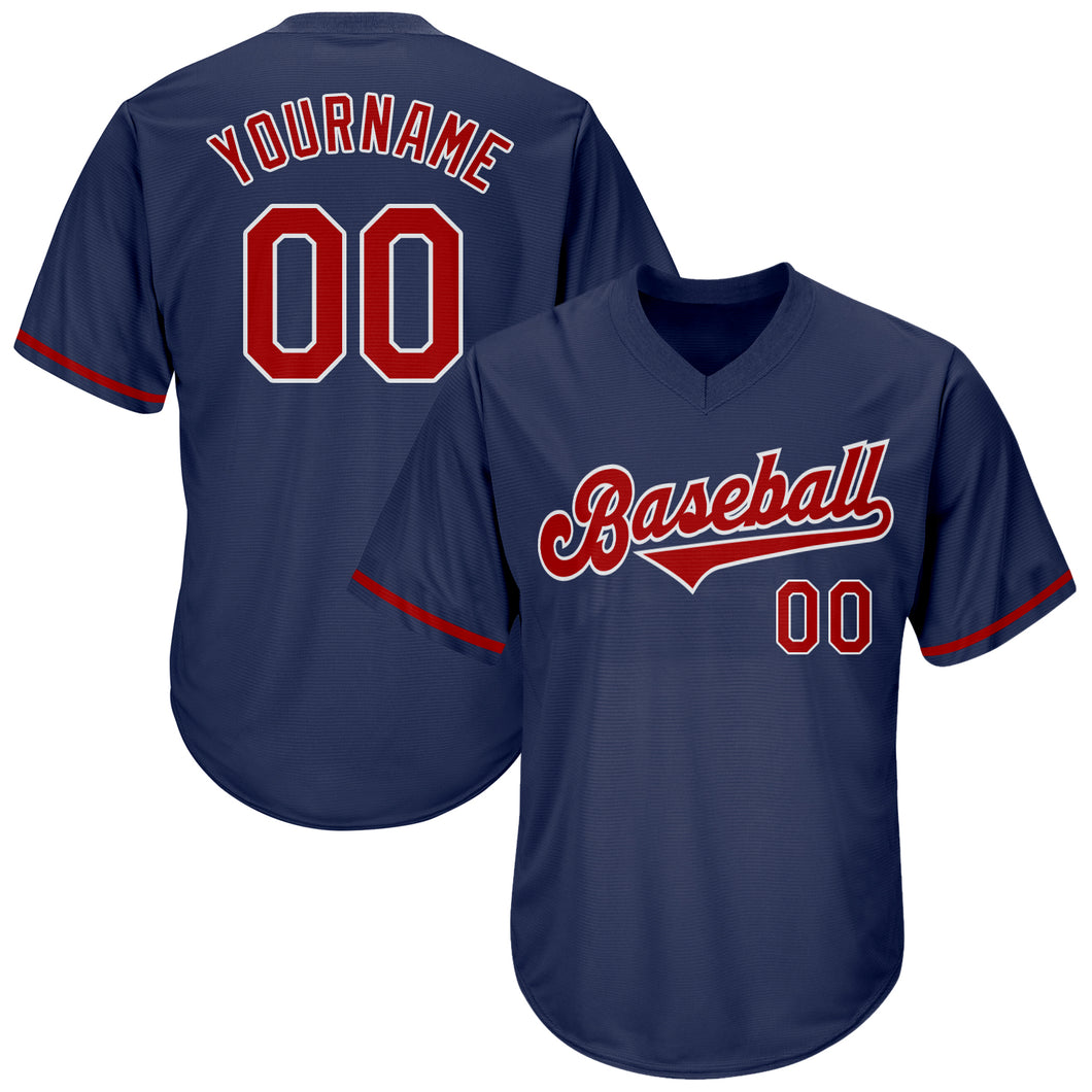 Custom Navy Red-White Authentic Throwback Rib-Knit Baseball Jersey Shirt