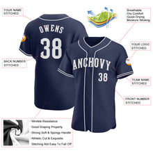 Load image into Gallery viewer, Custom Navy White Authentic Baseball Jersey