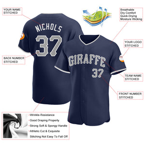Custom Navy Gray-White Authentic Baseball Jersey
