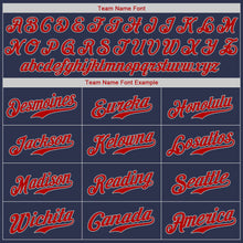 Load image into Gallery viewer, Custom Navy Red-Gray Authentic Baseball Jersey