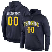 Load image into Gallery viewer, Custom Stitched Navy Gold-White Sports Pullover Sweatshirt Hoodie