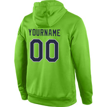 Load image into Gallery viewer, Custom Stitched Neon Green Navy-Gray Sports Pullover Sweatshirt Hoodie