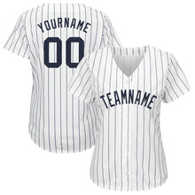 Load image into Gallery viewer, Custom White Navy Strip Navy Baseball Jersey