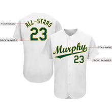Load image into Gallery viewer, Custom White Green-Gold Baseball Jersey