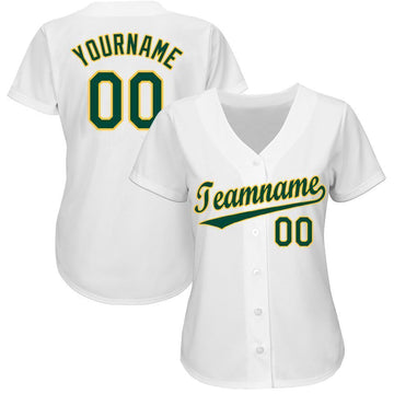 Custom White Green-Gold Baseball Jersey