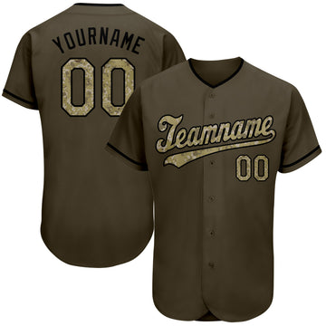 Custom Olive Camo-Black Authentic Salute To Service Baseball Jersey