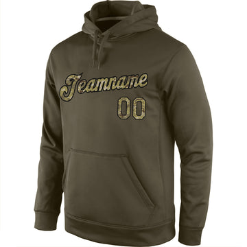 Custom Stitched Olive Camo-Black Sports Pullover Sweatshirt Salute To Service Hoodie