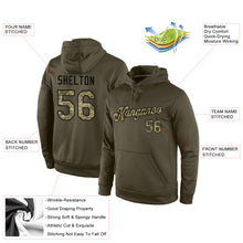 Load image into Gallery viewer, Custom Stitched Olive Camo-Black Sports Pullover Sweatshirt Salute To Service Hoodie
