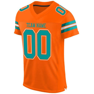 Custom Orange Aqua-White Mesh Authentic Football Jersey