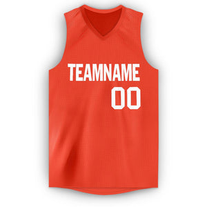 Custom Orange White V-Neck Basketball Jersey