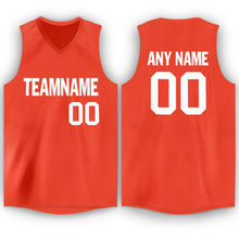 Load image into Gallery viewer, Custom Orange White V-Neck Basketball Jersey