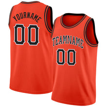 Load image into Gallery viewer, Custom Orange Black-White Round Neck Rib-Knit Basketball Jersey