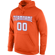 Load image into Gallery viewer, Custom Stitched Orange White-Purple Sports Pullover Sweatshirt Hoodie